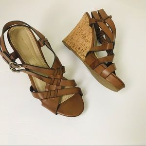 Chinese Laundry Leather Buckle Wedges